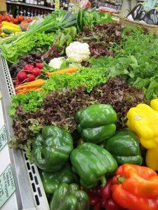 fresh vegetables in a supermarket