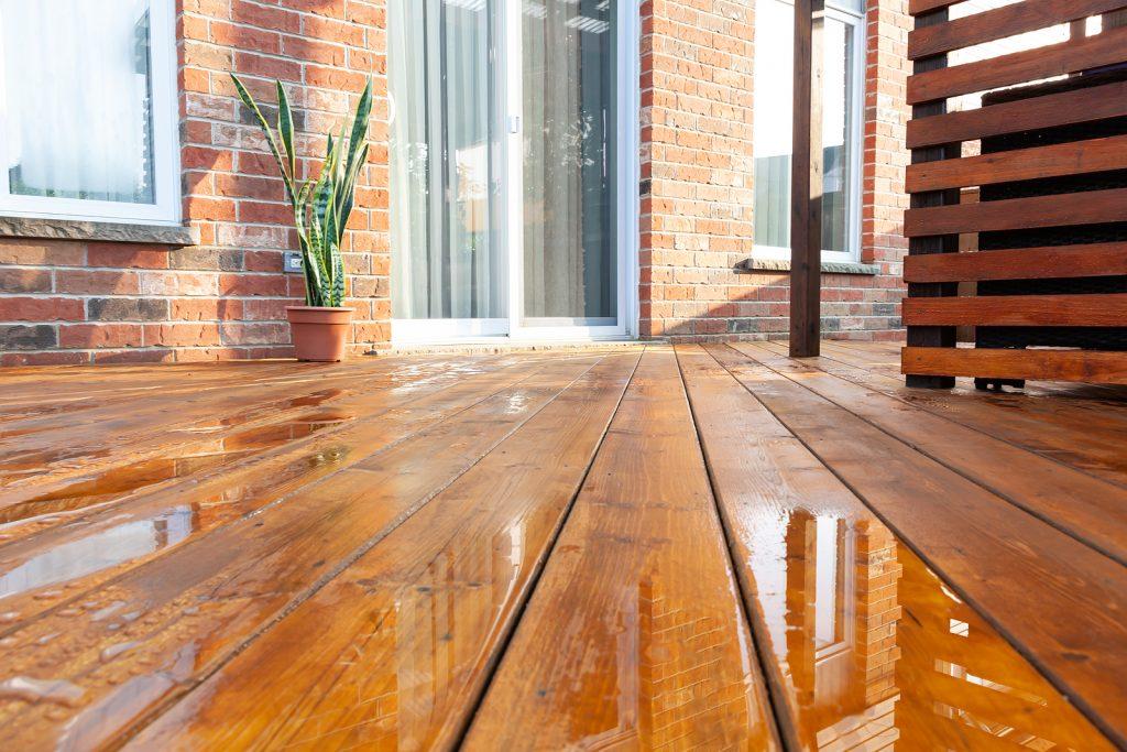hardwood timber floor in the front yard