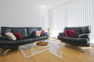 living room with hardwood timber floor