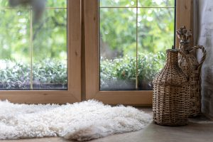 Cozy home with large sheepskin rug